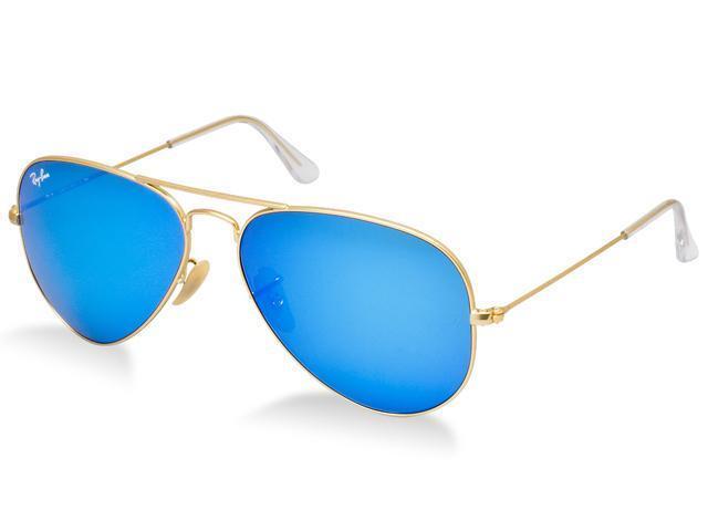 b643a07b26b88 Ray Ban RB3025 Aviator Flash Lenses Sunglasses - Gold Frame Green Lenses