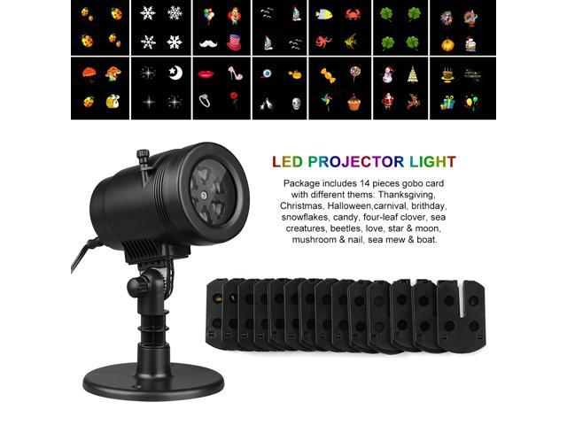 Excelvan Landscape Projection LED Lights Auto Rotating Garden Lamp Waterproof with 14 Switchable Slides for Christmas Halloween Wedding Party