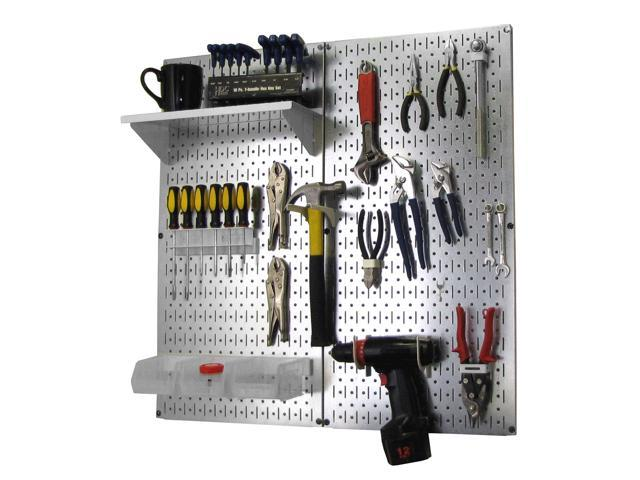 Wall Control Metal Pegboard Utility Tool Storage Kit - Galvanized Steel Pegboard & White Accessories