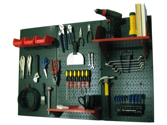 Wall Control 4ft Metal Pegboard Standard Tool Storage Kit - Green Toolboard & Red Accessories