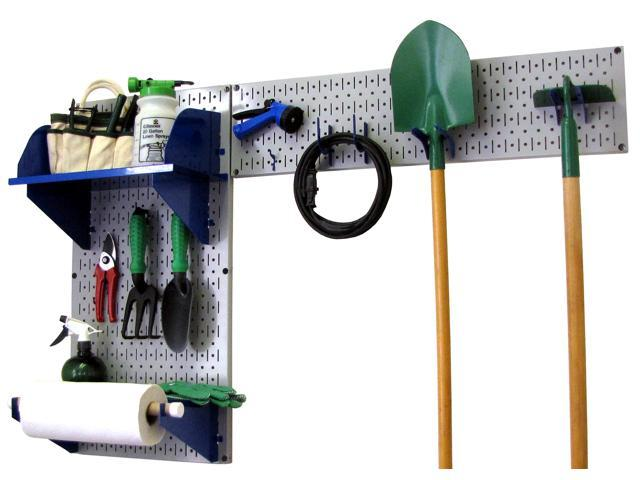 Wall Control Pegboard Garden Tool Board Organizer With Gray Pegboard And Blue Accessories
