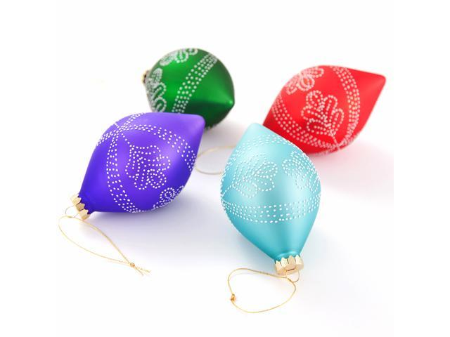 Comix Christmas Tree Teardrop Ornaments with Leaf Rhinestone Patterns - 4 Pack