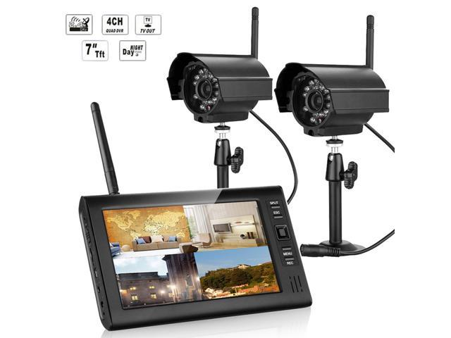 "Wireless 2.4G 4CH Quad DVR 2 Camera with 7""TFT-LCD Monitor Home Security System"