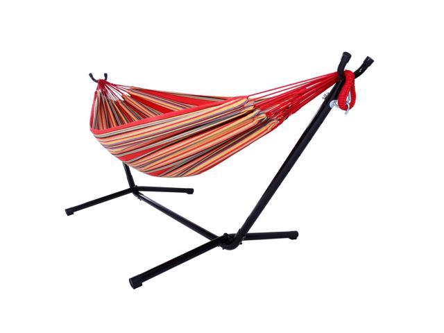 Double Hammock With Space Saving Steel Stand Includes w/ Portable Carrying Case