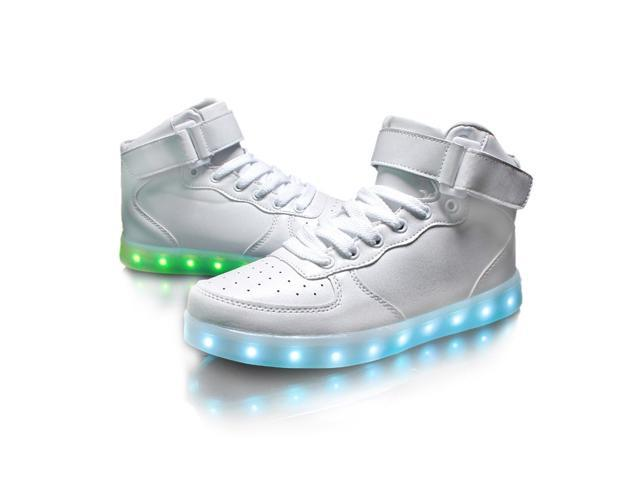 Flashys White High Top  LED Adult Shoes