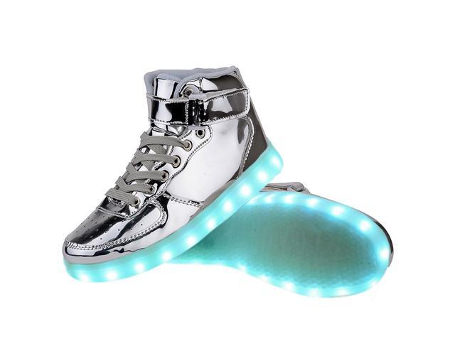 Flashys Silver High Top  LED Adult Shoes