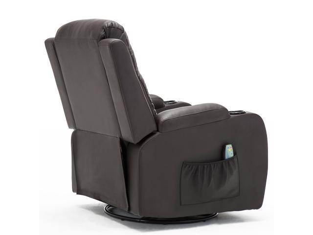 GTRAComHoma Leather Recliner Chair Modern Rocker with Heated Massage Ergonomic Lounge 360 Degree Swivel Single Sofa ...  sc 1 st  Newegg Flash & GTRAComHoma Leather Recliner Chair Modern Rocker with Heated Massage ...