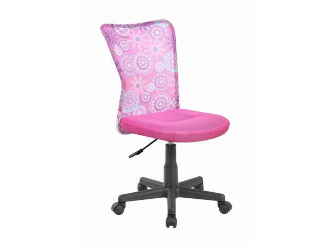 Home Ergonomic Mesh Medium Back Computer Desk Task Office Chair, Armless Pink  Seat With ...