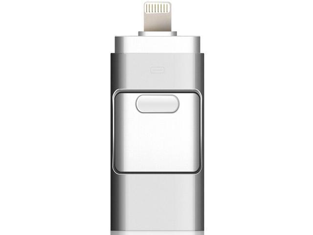 Apple iPhone U disk Dual-use three-in-one OTG metal U disk Silver gray 16GB