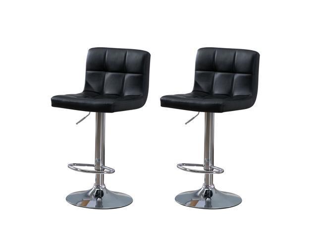 Samincom Set of 2 Simple Modern Style PU Leather Swivel Bar Stools with Back (Black)