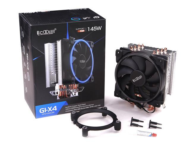 PCCOOLER GI-X4 CORONA B CPU Cooler with 120mm PWM Fan  SilentPro Blades design with Corona Blue LED  Frame