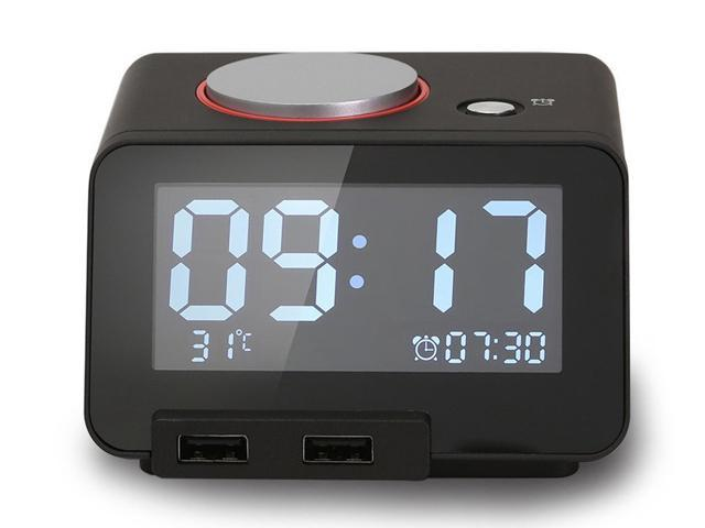 Homtime C1 Alarm Clock with dual USB chargers, Indoor Temperature displaying and Snooze (Black)
