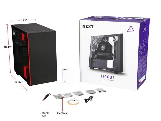 NZXT H400i Micro ATX Tower Chassis with 2x120mm, 1x120mm and LED strips, Matte Black/Red with Smart Device, Cable Management System and Tempered Glass