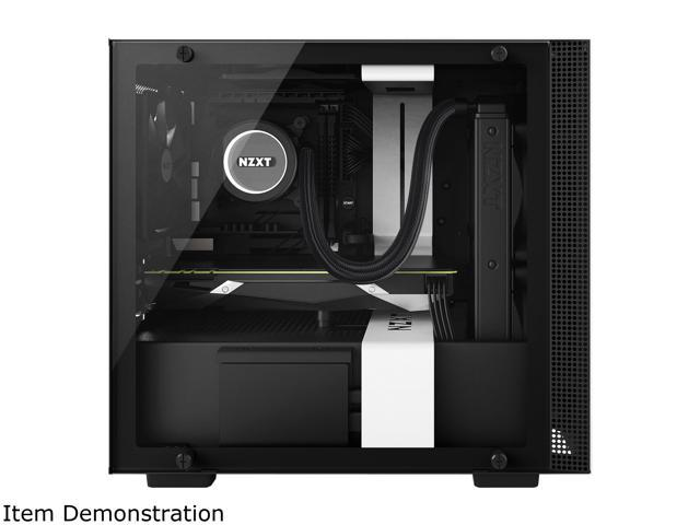 NZXT H200 - Mini-ITX PC Gaming Case - Tempered Glass Panel - All-Steel Construction - Enhanced Cable Management System - Water Cooling Ready - White/Black