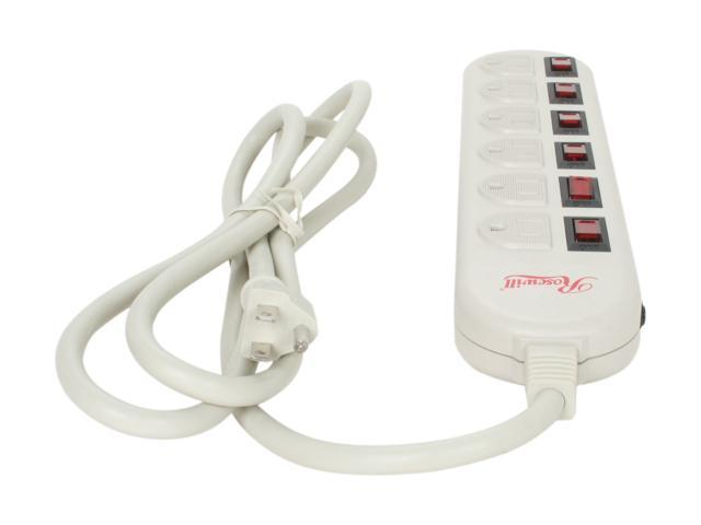Rosewill RPS-200 - 6 Outlets Power Strip - 125V Input, 1875 Watts Maximum Power Output, 6 Feet Cord