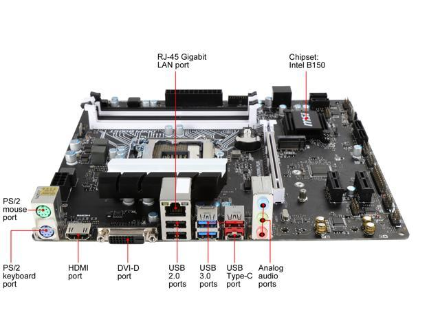 Refurbished: MSI B150M BAZOOKA PLUS LGA 1151 Intel B150 HDMI SATA 6Gb/s USB 3.1 Micro ATX Motherboards - Intel - OEM