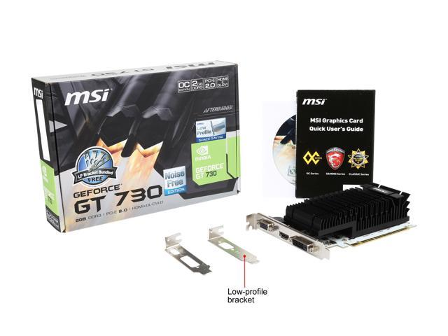 Refurbished: MSI GeForce GT 730 DirectX 12 N730K-2GD3H/LP 2GB 64-Bit DDR3 PCI Express 2.0 x16 HDCP Ready Low Profile Video Card