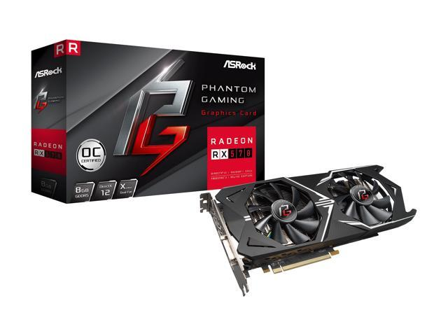 ASRock Phantom Gaming X Radeon RX 570 DirectX 12 RX570 8G OC 8GB 256-Bit GDDR5 PCI Express 3.0 x16 HDCP Ready Video Card