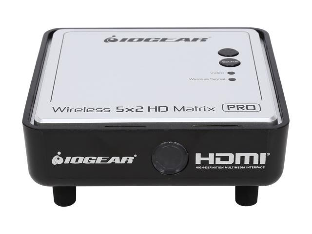 IOGEAR GWHDMS52MBK3 Long Range Wireless 5x2 HDMI Matrix PRO with 2 Additional Receivers