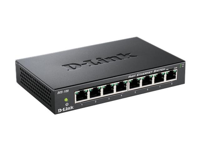 D-Link DES-108 Unmanaged 8-Port Fast Ethernet Switch