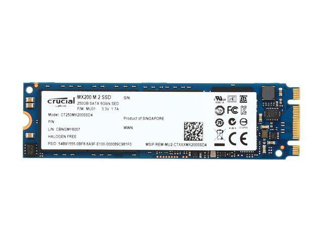 Crucial MX200 M.2 Type 2280SS (Single Sided) 250GB SATA 6Gbps (SATA III) Micron 16nm MLC NAND Internal Solid State Drive (SSD) CT250MX200SSD4