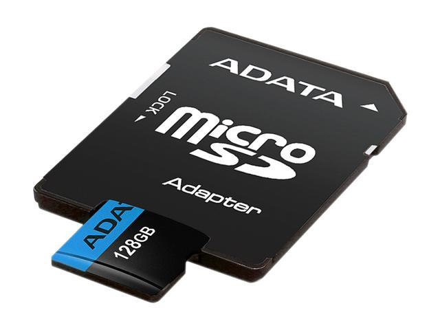ADATA 128GB Premier microSDXC UHS-I / Class 10 V10 A1 Memory Card with SD Adapter, Speed Up to 100MB/s (AUSDX128GUICL10A1-RA1)