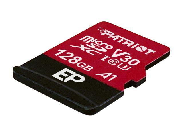 Patriot Memory 128GB EP Series MicroSDXC U3, A1, V30, 4K Memory Card with Adapter, Reads 100 MB/s, Writes 80 MB/s,