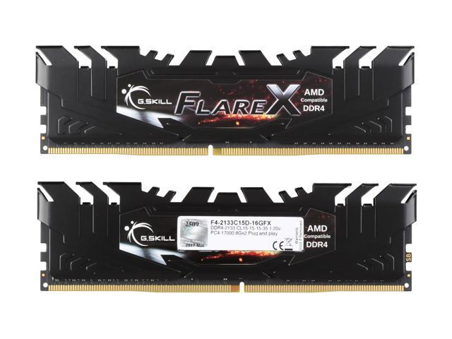 G.SKILL Flare X (for AMD) 16GB (2 x 8GB) 288-Pin DDR4 SDRAM DDR4 2133 (PC4 17000) AMD X370 / B350 / A320 Desktop Memory Model F4-2133C15D-16GFX