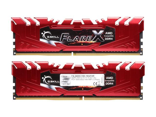 G.SKILL Flare X (for AMD) 16GB (2 x 8GB) 288-Pin DDR4 SDRAM DDR4 2400 (PC4 19200) AMD X370 / B350 / A320 Memory (Desktop Memory) Model F4-2400C15D-16GFXR