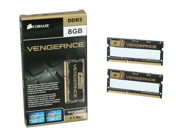 CORSAIR Vengeance 8GB (2 x 4GB) 204-Pin DDR3 SO-DIMM DDR3 1600 (PC3 12800) Laptop Memory Model CMSX8GX3M2A1600C9