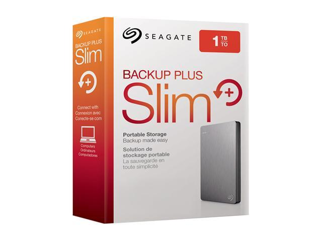 Seagate Backup Plus Slim 1TB USB 3.0 Portable External Hard Drive with Mobile Device Backup - STDR1000101 (Silver)
