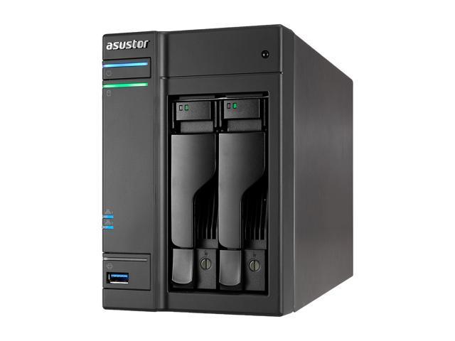 Asustor AS6202T, 2-Bay NAS (Diskless), Intel Celeron 1.6 GHz Quad-Core, 4GB RAM