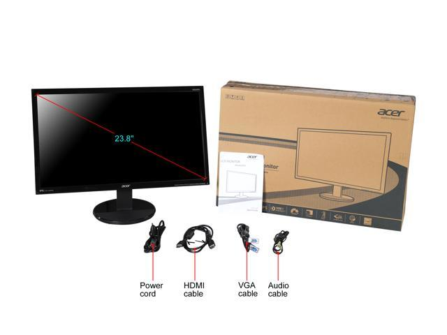 "Acer KN242HYL 23.8"" IPS LCD/LED Widescreen Monitor 1920x1080, 4ms (GTG) 60Hz Refresh Rate, 16:9 Aspect Ratio, D-sub/DVI/HDMI, Tilt Capable with Built in Speakers"
