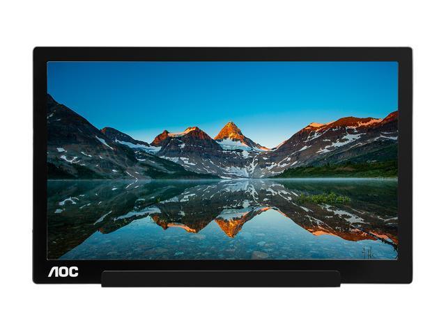 "AOC I1601FWUX 15.6"" FHD 1080p USB-C Powered Portable, IPS panel, USB Type-C, Tilt, Auto-pivot, Sleek design, 220 cd/m2, 5ms, 2017 MacBook Pro & XPS compatible"