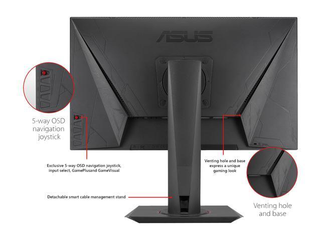 "ASUS MG248QR Black 24"" eSports Gaming Monitor FHD (1920x1080) FreeSync/Adaptive Sync 144Hz 1ms VESA Height Adjustable Stand DP HDMI DVI 3.5mm Earphone Jack"