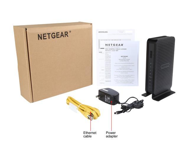 Refurbished: NETGEAR C3700-100NAR N600 Wi-Fi Cable Modem Router 1 x USB 2.0 port 1 x coaxial port for cable Internet   2 x 10/100/1000 LAN Gigabit Ethernet ports with auto-sensing technology DOCSIS 3.0 IEEE 802.11 b/g/n 2.4 GHz IEEE 802.11 a/n 5.0 GHz