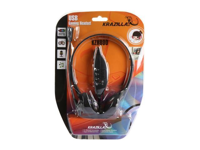 Refurbished: Krazilla KZH800 USB Gaming Headset with Microphone and Volume Control / Mute - Black (Grade A, new open box)
