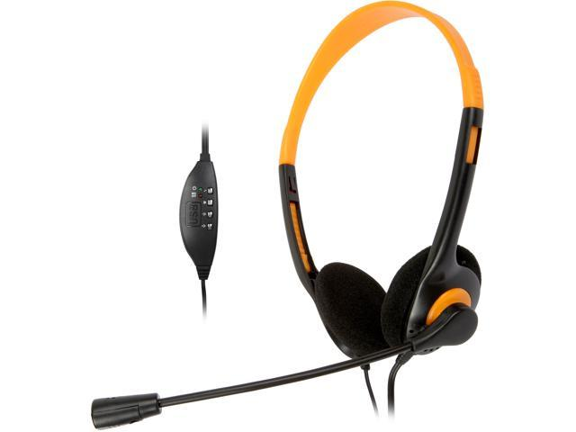Refurbished: Krazilla KZH800 USB Gaming Headset with Microphone and Volume Control / Mute - Orange (Grade A, new open box)