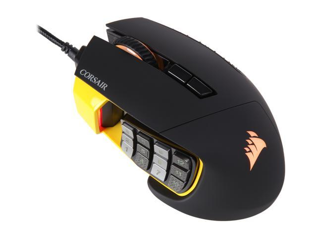 Refurbished: Corsair Certified CH-9304011-WW SCIMITAR PRO  Black/Yellow 17 Buttons 1 x Wheel USB Wired Optical 16000 dpi Gaming Mice - OEM