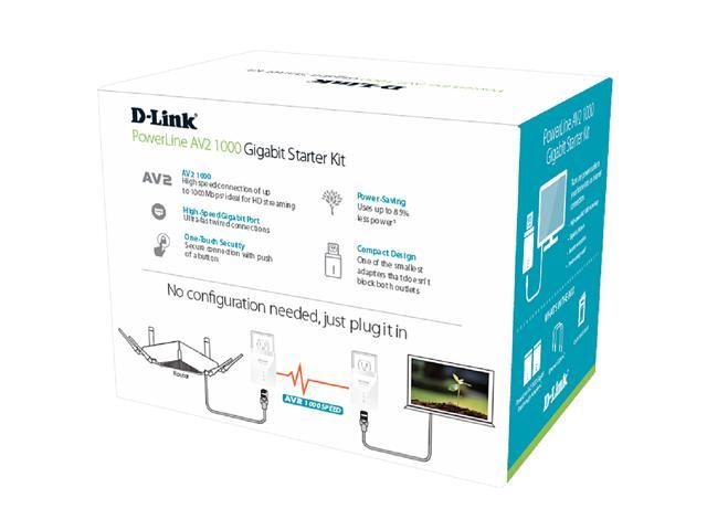 D-Link PowerLine DHP-601AV AV2 AV1000 Gigabit Starter Kit, up to 1000 Mbps
