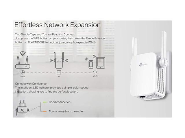 Image result for Effortless Network Expansion Two Simple Taps and You are Ready to Connect Just press the WPS button on your router, then press the Range Extender button on TL-WA855RE to begin enjoying simple, expanded Wi-Fi.