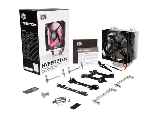 Hyper 212 LED with PWM Fan, Four Direct Contact Heatpipes, Unique Fan Blade Design, Red LEDs, Optimized Bracket Design by Cooler Master