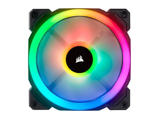 Corsair LL Series CO-9050072-WW LL120 RGB, 120mm Dual Light Loop RGB LED PWM Fan, 3 Fan Pack with Lighting Node PRO
