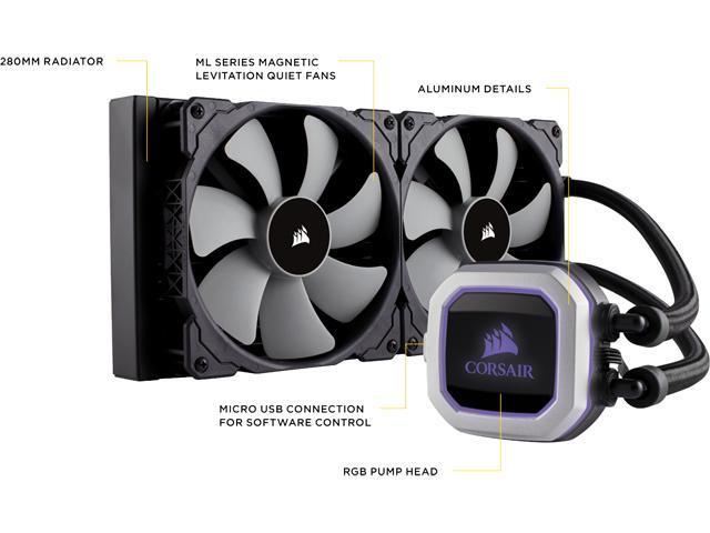 Corsair Hydro Series, H115i PRO RGB, 280mm. Dual 140mm ML PWM Fans, Advanced RGB Lighting & Fan Control w/ Software. Liquid CPU Cooler. CW-9060032-WW. Support: Intel 2066, AMD AM4.