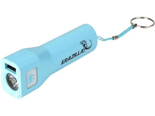 Refurbished: Krazilla Blue 3000 mAh LED Flashlight Power Bank, KZP1012 Blue, Grade A, New Open Box