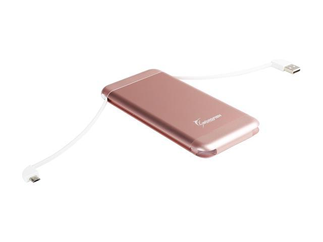 Swordfish Tech SPB-215-RG EZGO Ultra 15000 mAh External Battery with Build-in Fast Charging Cable - Rose Gold Color