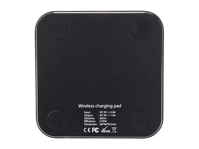 Refurbished: Krazilla KZC99 black Black Square Wireless Charging Pad for iPhone, Android Phones, USB Cable Included