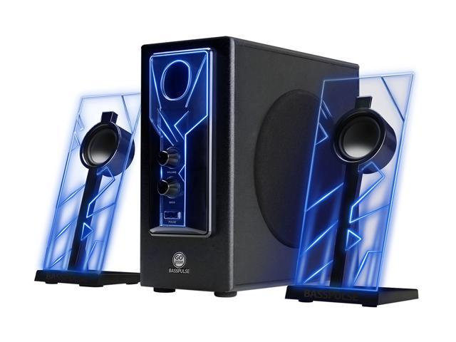 GOgroove BassPULSE Computer Speaker System with Blue LED Glow Lights & Powered Subwoofer - Works with PC, Apple MAC, ASUS, Acer, Alienware, CybertronPC, Dell, HP & More Computers