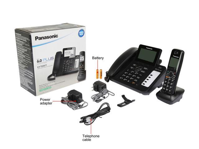 Refurbished: Panasonic RBKX-TG6671B DECT 6.0 Corded/Cordless Phone with Digital Answering System, Black