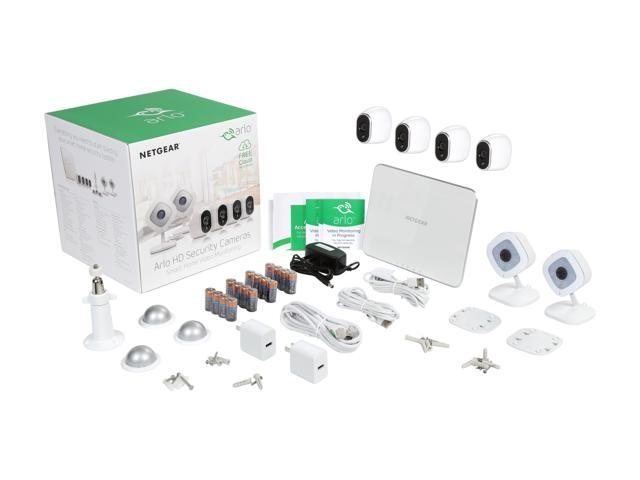 NETGEAR Arlo Smart Home Security Camera System - 4 HD, 100% Wire-Free, In / Outdoor Cameras w/ Night Vision Battery Powered and 2 Arlo Q 1080p Wi-Fi Camera w/ 2 Way Audio & 7 Days of FREE
